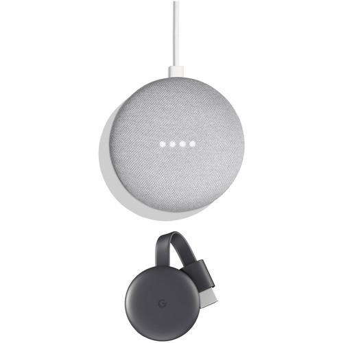 Google Home Mini Kit with 3rd-Gen Chromecast (Chalk)