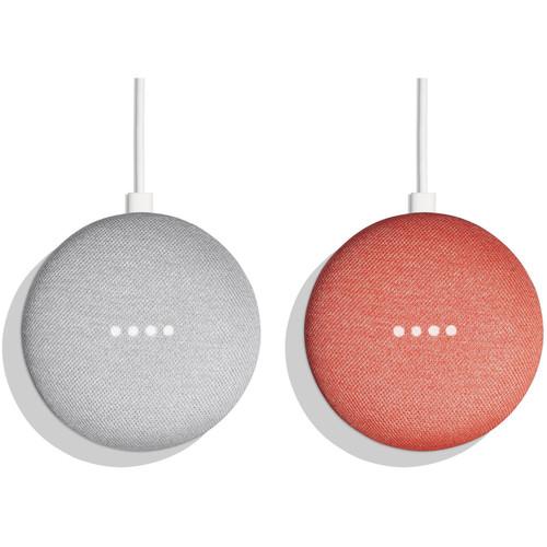 Google Home Mini Pair Kit (One Chalk, One Coral)