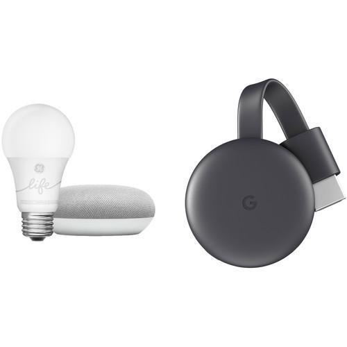Google Home Mini, Smart Light, and Chromecast Kit (Chalk)