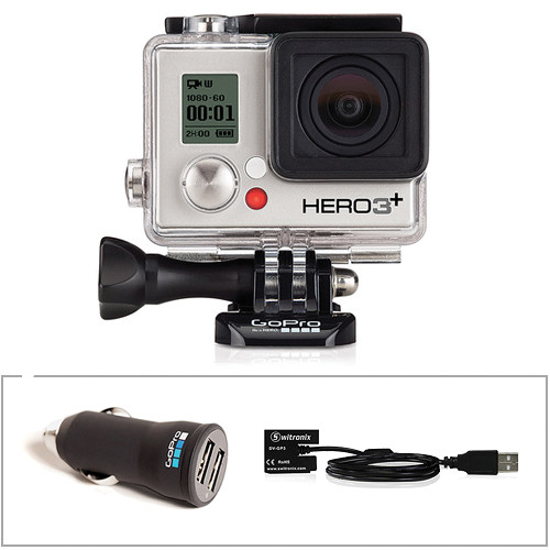 GoPro HERO3+ Silver Edition with Car Charger and Battery Eliminator
