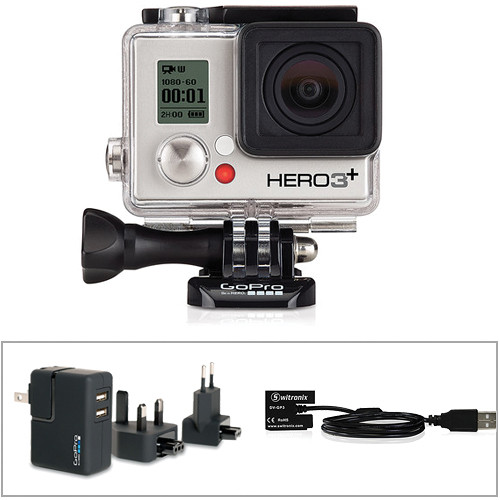 GoPro HERO3+ Silver Edition w/ Wall Charger & Battery Eliminator