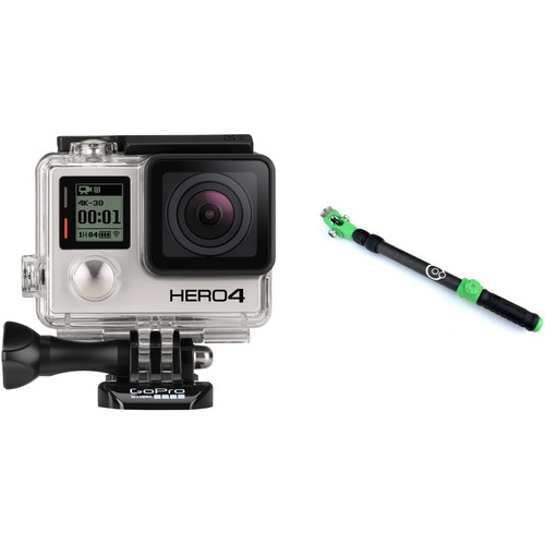 GoPro HERO4 Black & Aluminum Orbit Pole Cinema Stick Green Kit