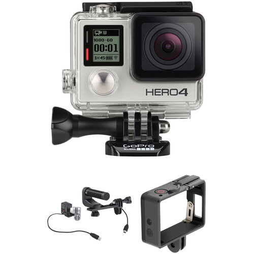 GoPro HERO4 Silver with QR Frame and Production Microphone Kit