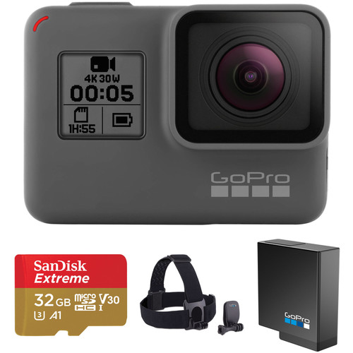 GoPro HERO5 Black & Head Strap Kit with 32GB microSDHC Card