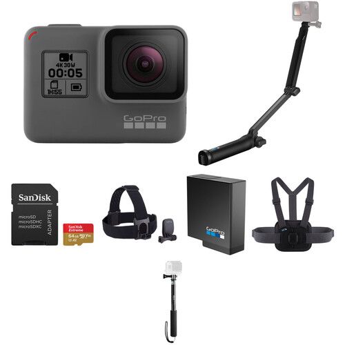 GoPro HERO5 Black Kit with Head Strap, Chesty, Selfie Stick, 3-Way, Battery, 64GB Card & Case