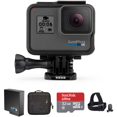 GoPro HERO6 Black Kit with Head Strap, Extra Battery, Zipper Case, and 32GB microSD Card