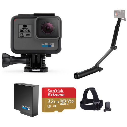 GoPro HERO6 Black Kit with Head Strap, Extra Battery, 3-Way, and 32GB microSD Card