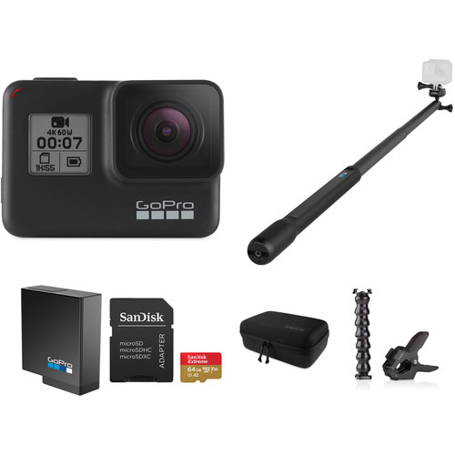 GoPro HERO7 Black with Head Strap, 32GB Card, Extra Battery, and Case Kit
