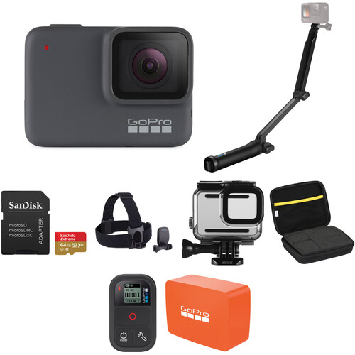 GoPro HERO7 Silver with 3-Way Grip, Head Strap, 64GB Card, and Case Kit