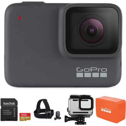 GoPro HERO7 Silver Kit with Head Strap, 32GB Card, and Case