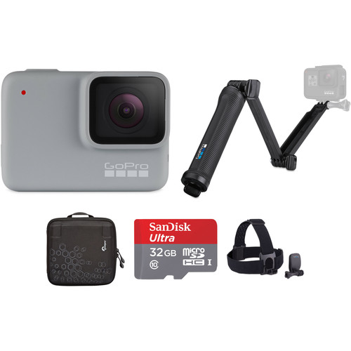 GoPro HERO7 White with 3-Way Grip, Head Strap, 32GB Card, and Case Kit