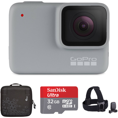 GoPro HERO7 White Kit with Head Strap, 32GB Card, and Case
