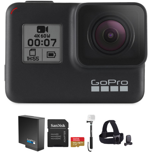 GoPro HERO7 Black with Head Strap, 32GB Card, and Extra Battery Kit