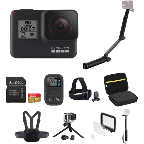 GoPro HERO7 Black with 3-Way Grip, Head Strap, 32GB Card, and Case Kit