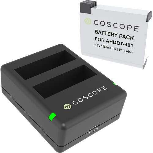 GoScope Dual Charger with Battery for GoPro HERO4