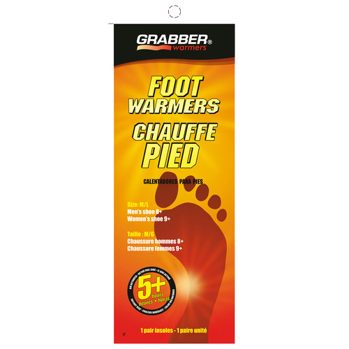 Grabber Pair of Foot Warmers - Single-Use Air-Activated Heat Insoles (Medium / Large)