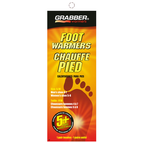 Grabber Pair of Foot Warmers - Single-Use Air-Activated Heat Insoles (Small / Medium)