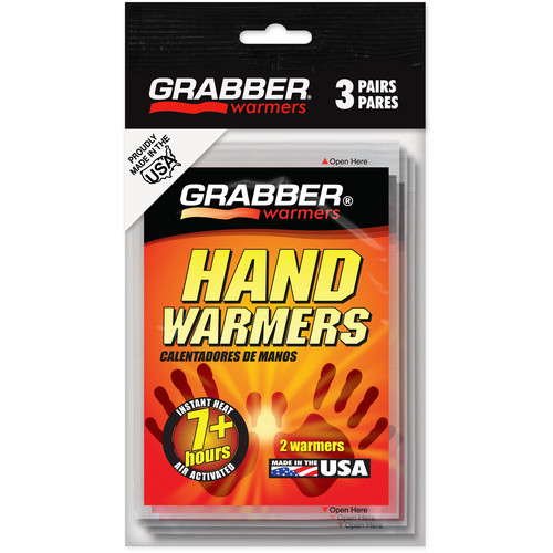Grabber Mini Hand Warmers - Single-Use Air-Activated Heat Packs (Three Pairs)