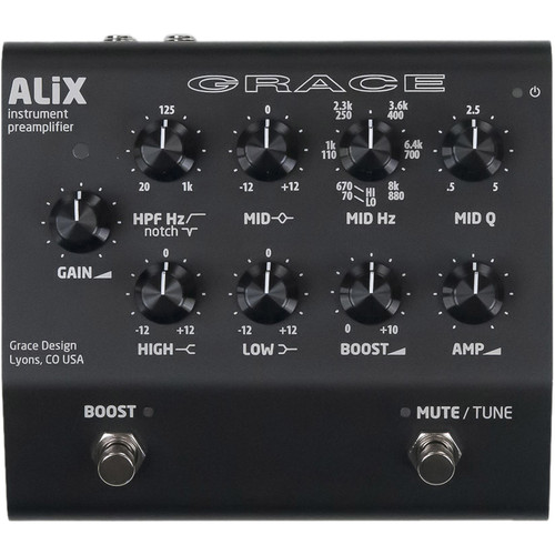 Grace Design ALiX Single-Channel Acoustic-Instrument Preamp, EQ, DI & Boost Pedal (Black)