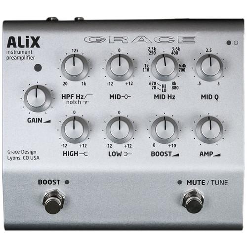 Grace Design ALiX Single-Channel Acoustic-Instrument Preamp, EQ, DI & Boost Pedal (Silver)
