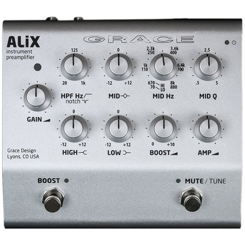Grace Design ALiX Single-Channel Acoustic-Instrument Preamp, EQ, DI & Boost Pedal (Silver)