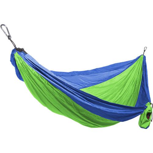 Grand Trunk Parachute Nylon Double Hammock Essentials Kit (Blue/Lime Green)