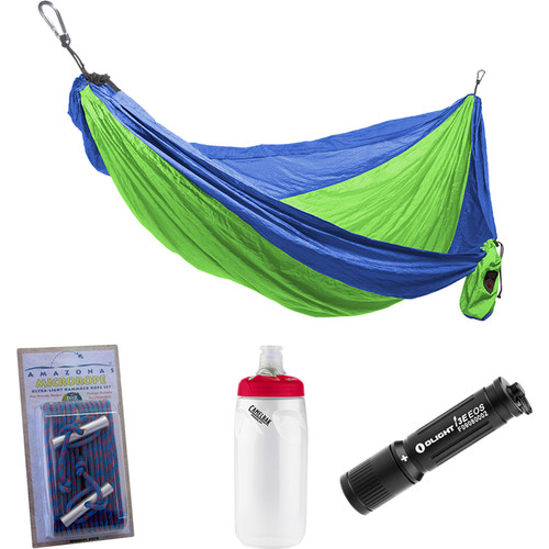 Grand Trunk Parachute Nylon Double Hammock Essentials Kit (Blue/Lime Green)