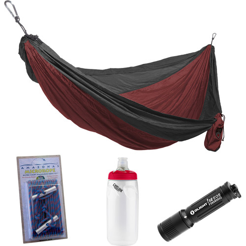 Grand Trunk Parachute Nylon Double Hammock Essentials Kit (Crimson/Charcoal)