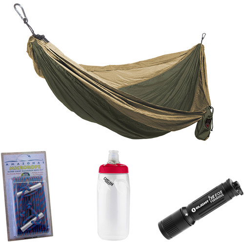 Grand Trunk Parachute Nylon Double Hammock Essentials Kit (Olive Green/Khaki)