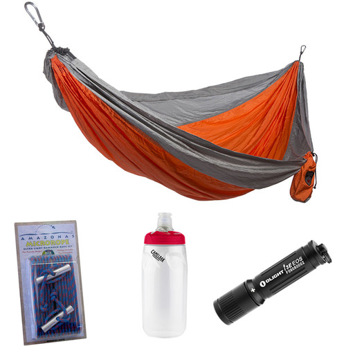 Grand Trunk Parachute Nylon Double Hammock Essentials Kit (Orange/Silver)