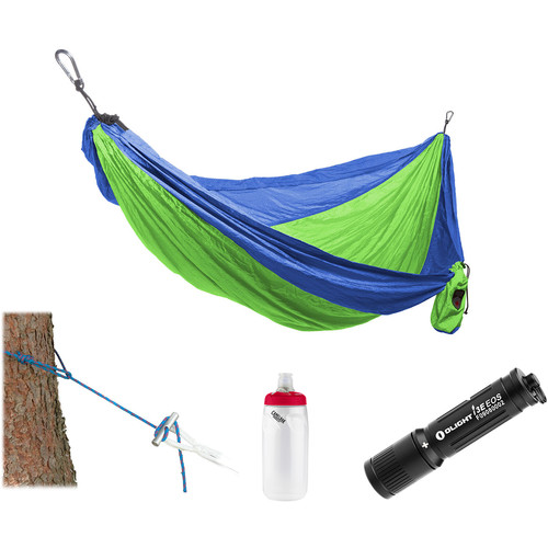 Grand Trunk Parachute Nylon Hammock Essentials Kit (Blue/Lime Green)