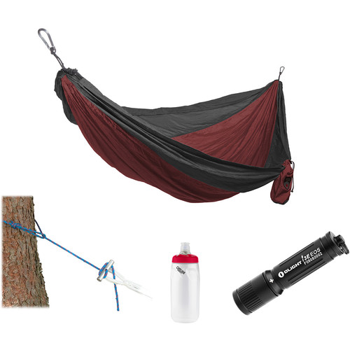 Grand Trunk Parachute Nylon Hammock Essentials Kit (Crimson/Charcoal)