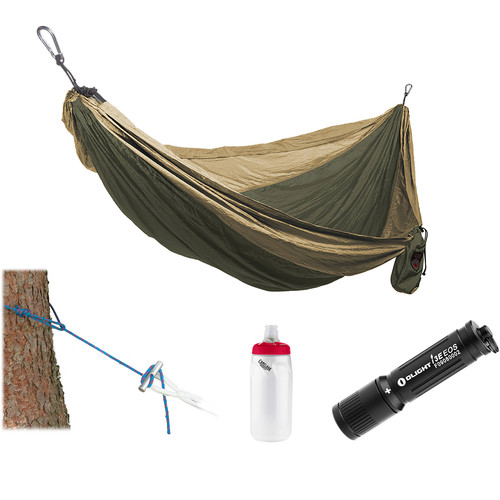 Grand Trunk Parachute Nylon Hammock Essentials Kit (Olive Green/Khaki)
