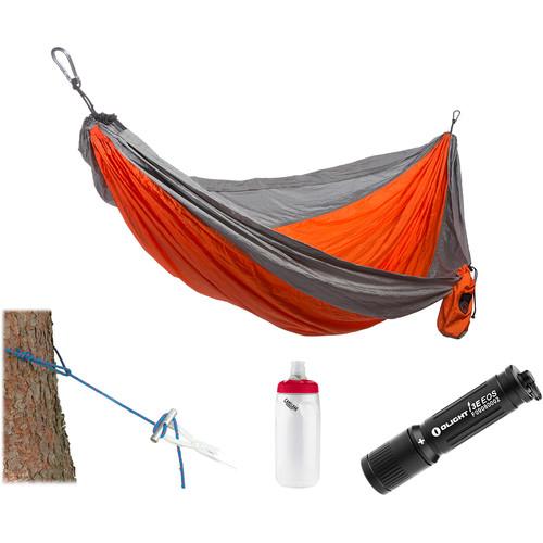 Grand Trunk Parachute Nylon Hammock Essentials Kit (Orange/Silver)