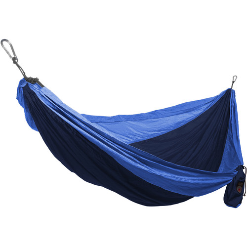 Grand Trunk Single Parachute Nylon Hammock (Navy/Light Blue)
