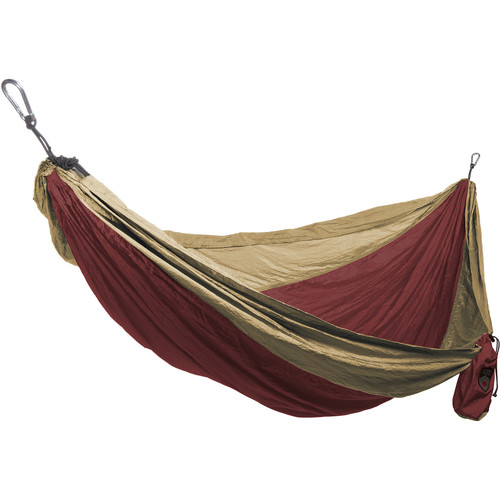 Grand Trunk Single Parachute Nylon Hammock (Crimson/Khaki)