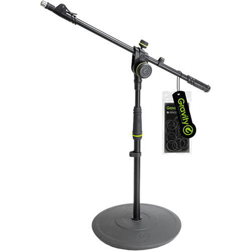 Gravity Stands Short Microphone Stand with Round Base and 2-Point Adjustment Telescoping Boom (Black)