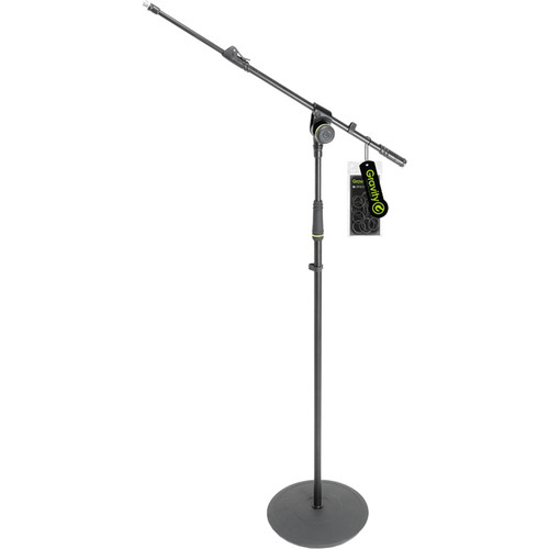 Gravity Stands Microphone Stand with Round Base and 1-Point Adjustment Telescoping Boom (Black)