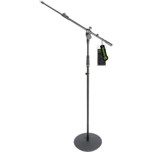 Gravity Stands Microphone Stand with Round Base and 2-Point Adjustment Telescoping Boom (Black)