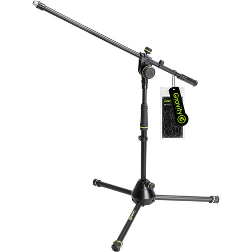 Gravity Stands Microphone Stand Short With Folding Tripod Base And 2-Point Adjustment Boom