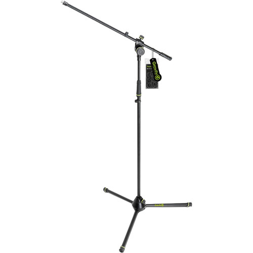 Gravity Stands Microphone Stand with Folding Tripod Base and 2-Point Adjustment Boom (Black)