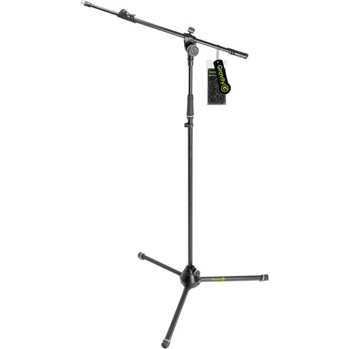 Gravity Stands Microphone Stand with Folding Tripod Base and 2-Point Adjustment Telescoping Boom (Black)