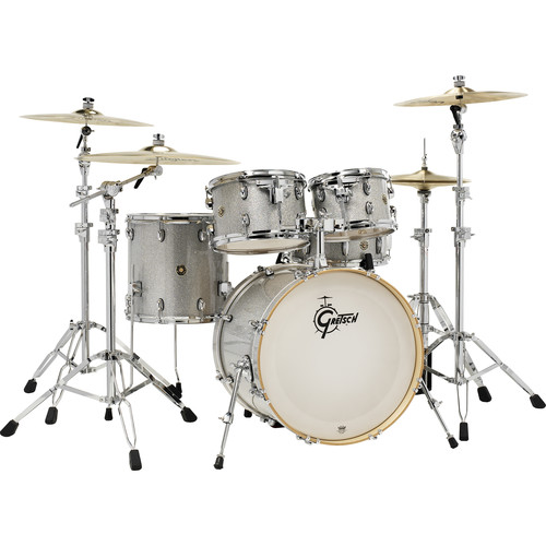 "Gretsch Drums Catalina Maple Series 5-Piece Drum Kit with 20"" Bass Drum (Silver Sparkle)"