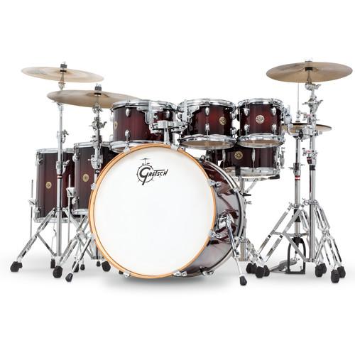 """Gretsch Drums Catalina Maple Series 7-Piece Drum Kit with 22"""" Bass Drum (Deep Cherry Burst)"""