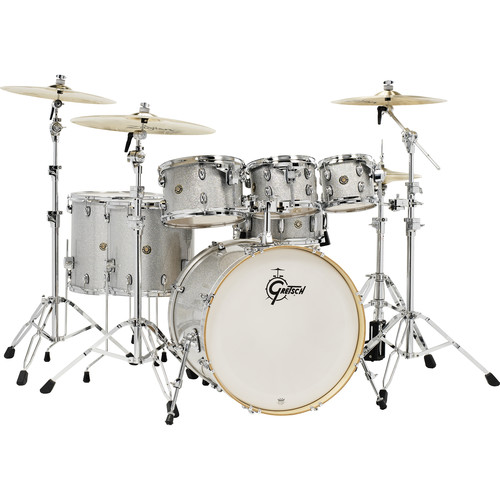 "Gretsch Drums Catalina Maple Series 6-Piece Drum Kit with 22"" Bass Drum (Silver Sparkle)"