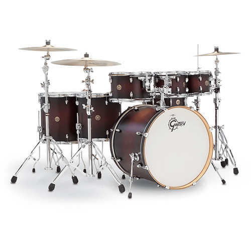 "Gretsch Drums Catalina Maple Series 7-Piece Drum Kit with 22"" Bass Drum (Satin Deep Cherry Burst)"