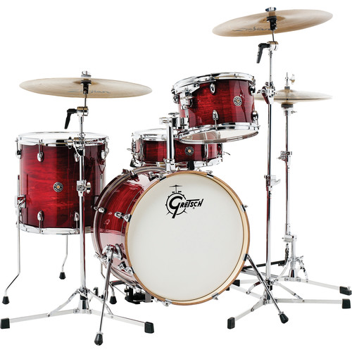"Gretsch Drums Catalina Club Series 4-Piece Drum Set with 18"" Bass Drum (Gloss Crimson Burst)"