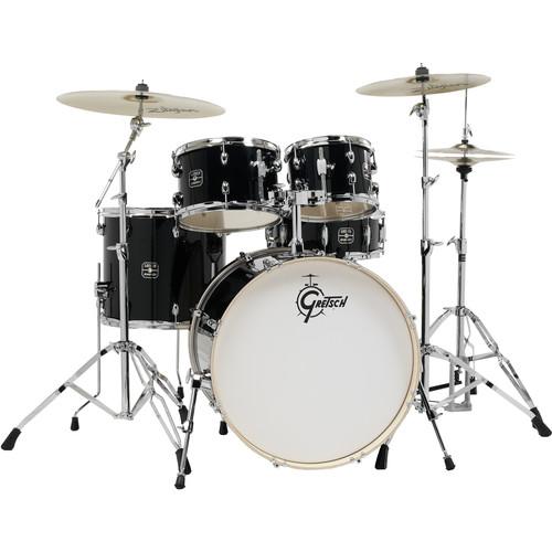 Gretsch Drums Energy Series 5-Piece Drum Set with Zildjian Planet Z Cymbals & Hardware (Black)