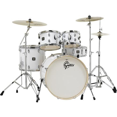 Gretsch Drums Energy Series 5-Piece Drum Set with Zildjian Planet Z Cymbals & Hardware (White)
