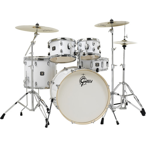 Gretsch Drums Energy Series 5-Piece Drum Set with Zildjian Planet Z Cymbals & Hardware (White)